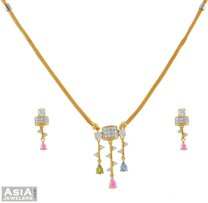 Fancy Signity Necklace Set ( Code: AjNs51493 )
