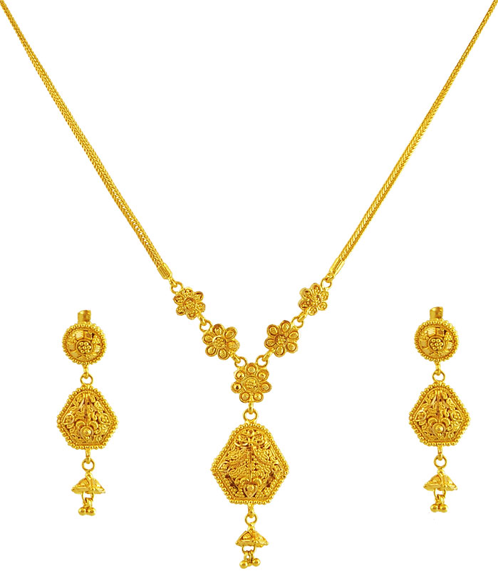 22K Gold Double Design Set - AjNs59982 - US$ 1,623 - Uniquely ...