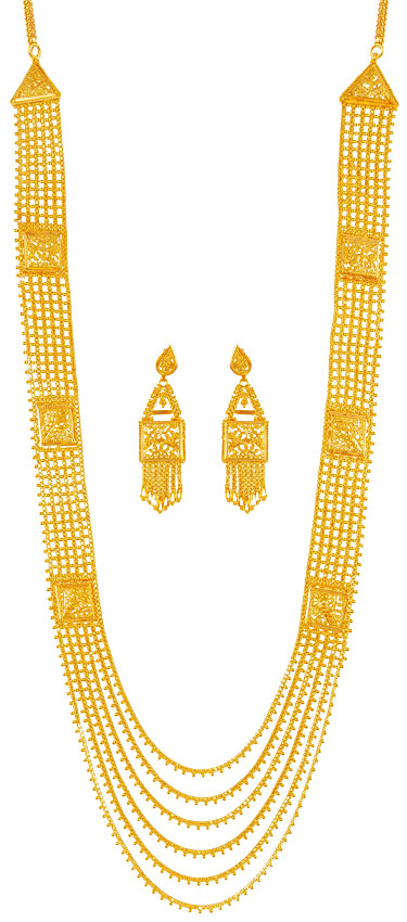 22k Gold Layered Chandrahaar Ajns60907 Authentic 22k