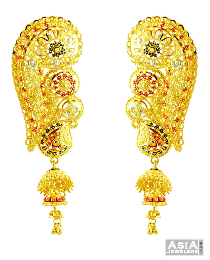 Gold jhumka earrings 22k ~ beautify themselves with earrings