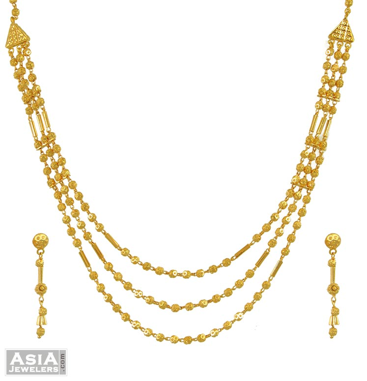 22k 3 Layered Ball Necklace Set ( Code: AjNs55186 )