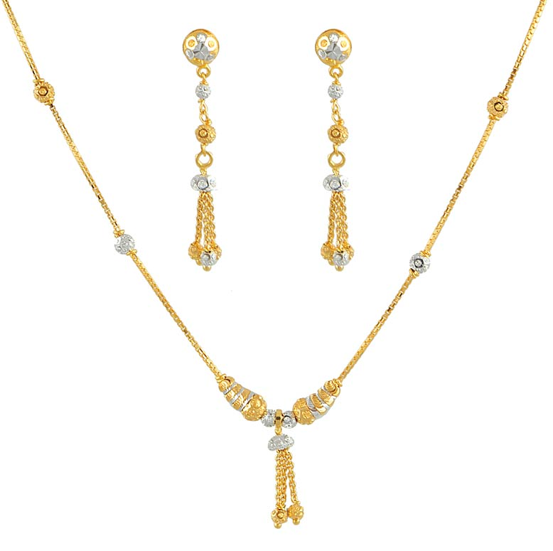 gold necklace and earrings set