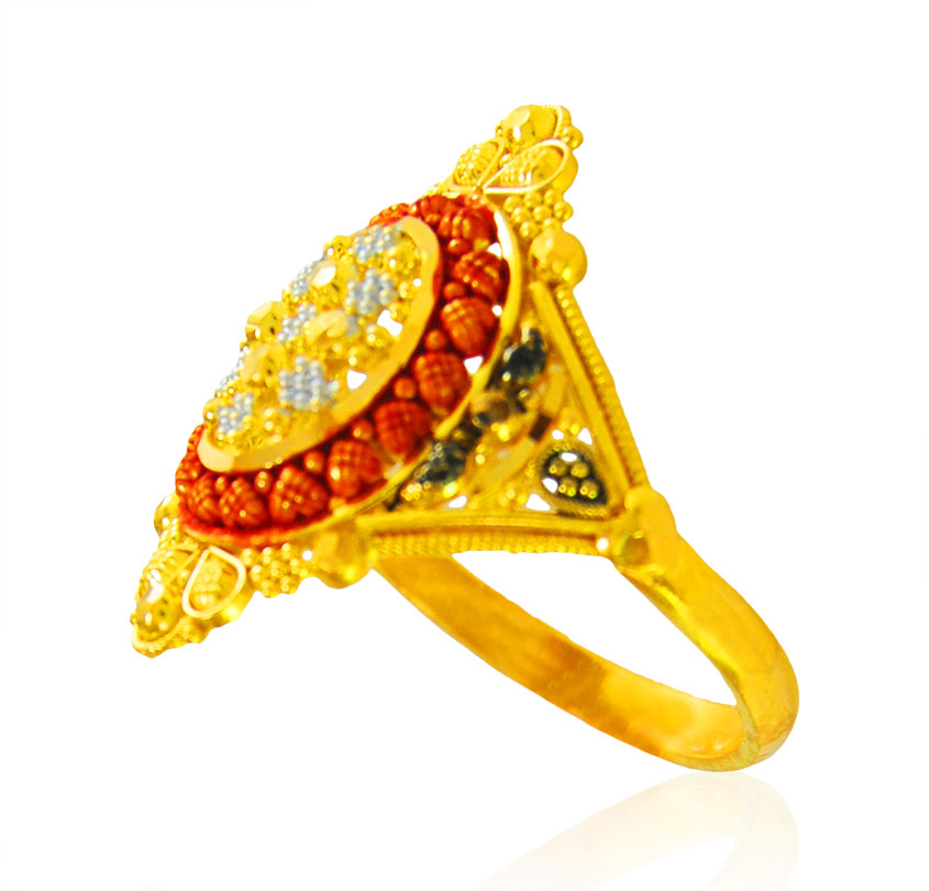 [ 22K Gold Rings > 22kt Gold Three Tone Ring  ]