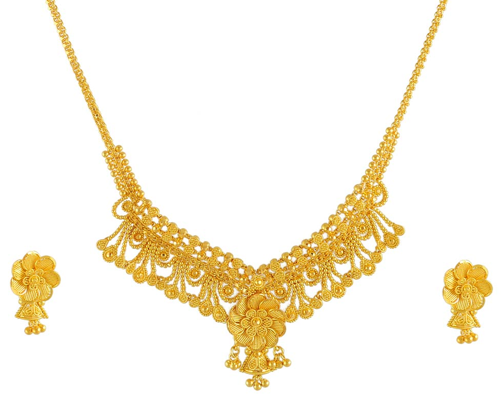 gold filigree necklace and earrings set