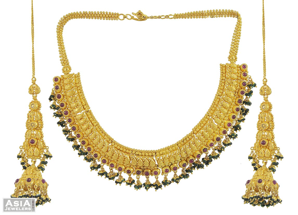 Indian Antique Gold Necklace Sets Antique Necklace Sets 22k Gold