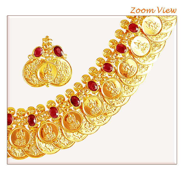 [ Stone Necklace Sets > 22 Karat Gold Kasu Maalai  ]