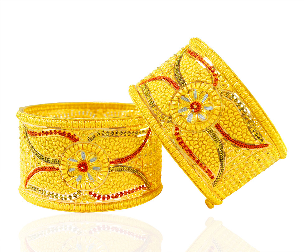 [ 22K Gold Kadas > 22KT Gold three tone Kada ( 2 PCS)  ]