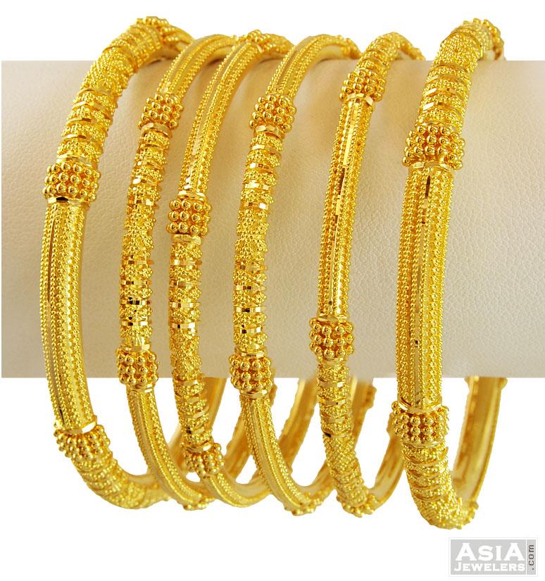 22K Yellow Gold Bangles Set