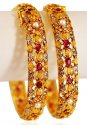 22K Gold Ruby Stones Bangles (2PC) - Click here to buy online - 3,400 only..