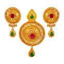 Click here to View - 22kt Gold Polki Stone Pendant Set