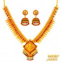 Gold Temple Jewelry Necklace Set - Click here to buy online - 6,833 only..