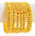 22k Gold Stones Bangles Set(6pcs) - Click here to buy online - 5,063 only..