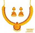 22 kt Gold Temple Necklace Set - Click here to buy online - 3,810 only..