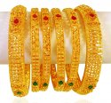 22kt Gold Stones Bangles Set(6pcs) - Click here to buy online - 5,118 only..