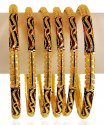Click here to View - Meena 22Kt Gold Bangles Set