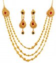 22k Precious Stone Necklace Set - Click here to buy online - 3,432 only..