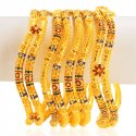 22k Gold Bangles Set (6 PCs) - Click here to buy online - 6,072 only..