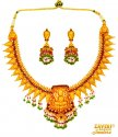 22 Kt Gold Temple Necklace Set - Click here to buy online - 4,191 only..