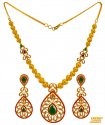 22K Gold Colored Stone Necklace Set - Click here to buy online - 3,490 only..