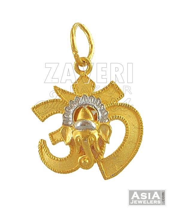 om pendant with ganesh 22k gold