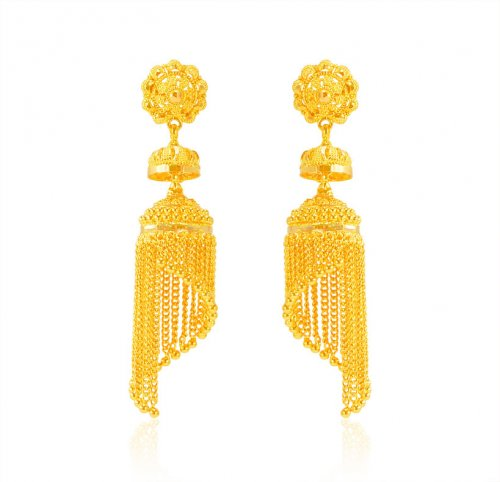 22k Gold Long Traditional Earring
