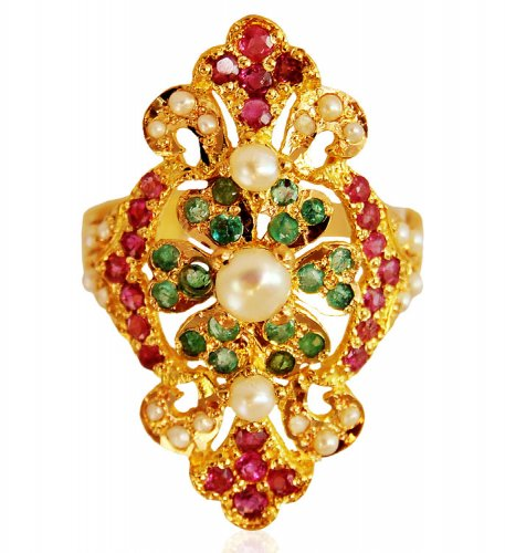 22KT Gold Ring with Colored Stones AsRi63209 22kt Gold designer