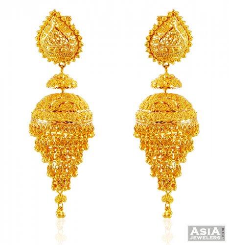 Gold Indian Chandelier Earrings