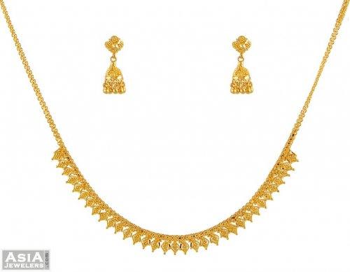 22 Karat Gold Necklace Set AjNs 22K Gold beautifully hand