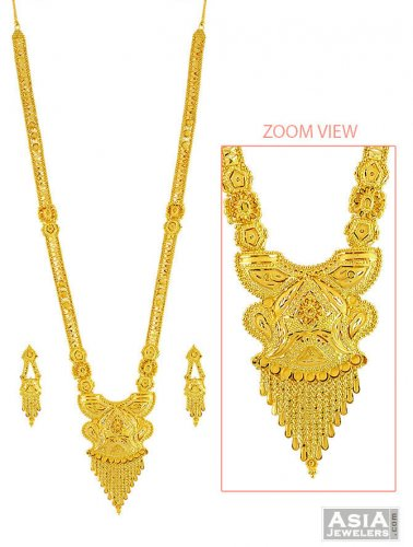 Light Weight Patta Haar Set 22k Ajns57564 22kt Gold Necklace And Earrings Set Designed With Minor Filigree Patterns And Floral Patterns With H