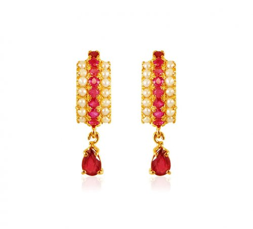 22k Gold Ruby Pearl Earrings