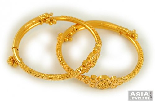 Yellow Gold Baby Bangles AjBa 22k yellow gold baby