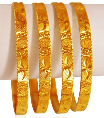 9 Simple Look Plain Gold Bangles Designs from India