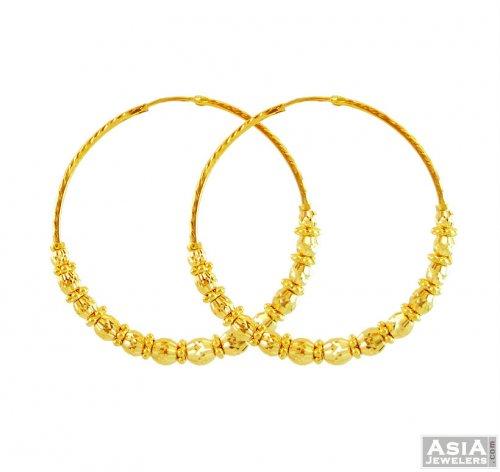 22k Gold Designer Hoops Bali AsEr56162 22k gold designer hoops