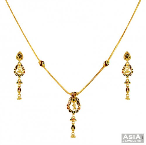 Light Weight 22k Meenakari Set Ajns58990 22k Gold