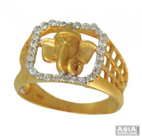 22k Mens Ganesha Ring AjRi 22k gold mens ring with