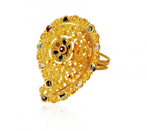 Traditional Indian Meena 22K Ring