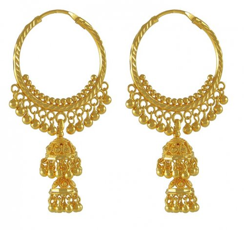 22K Gold Chandelier Hoops