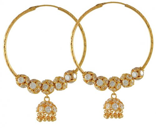 Gold Hoops with CZ and Gold Balls AjEr 22K Gold Hoops