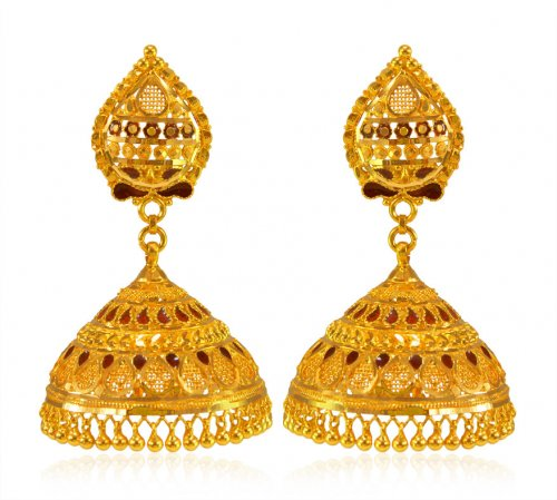 22kt Gold Long Jhumki Earring