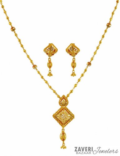 22k Fancy Light Weight Necklace Set Ajns59614 22k Gold Fancy Three Tone Necklace Set Designed With Filigree Patterns In Pendant Style Necklace Att