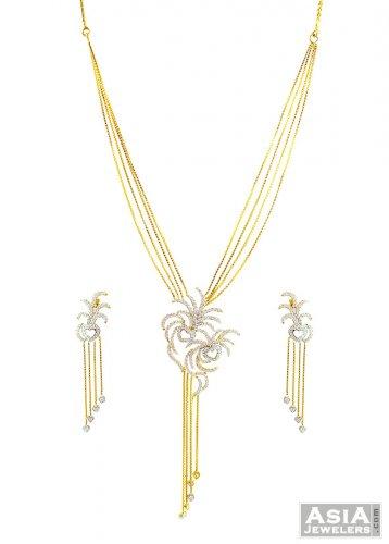 Designer pendant style necklace set ajns57430 22kt designer gold designer pendant style necklace set mozeypictures Image collections
