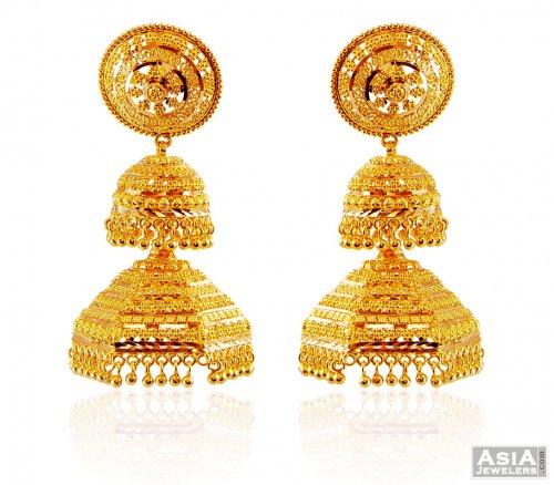 22k Fancy Chandelier Earrings Ajer59184 22k Gold Earrings With