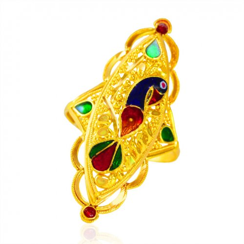 22kt Gold Fancy Peacock Ring