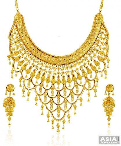 22k Bridal Necklace Set Ajns58434 Beautiful 22k Gold Designer
