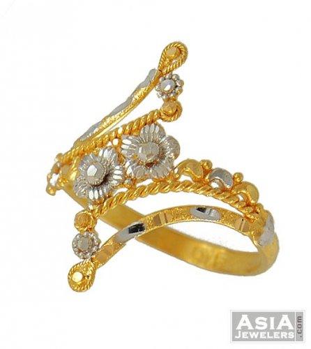 22k Designer Gold Ring Two Tone AjRi 22k gold indian