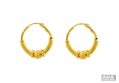 22K Gold Fancy Small Hoops