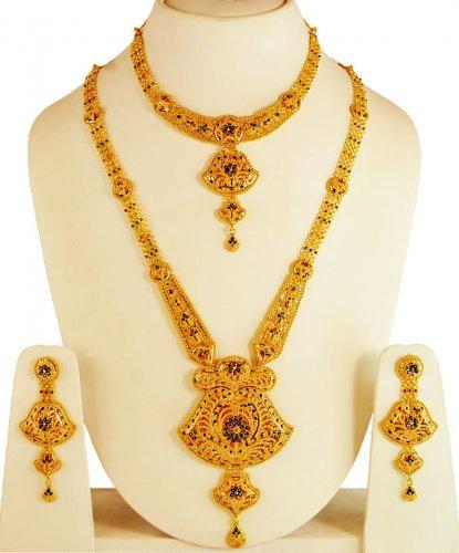 22kt Gold Bridal Necklace Set Ajns61681 22kt Gold