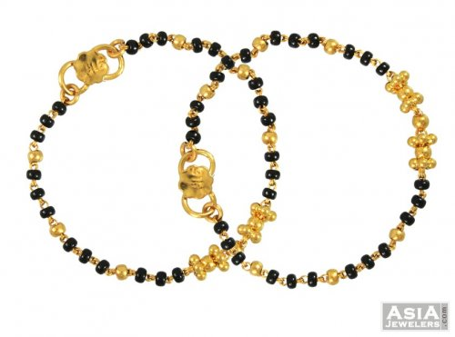 22k Black Beads Baby Bracelet