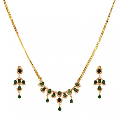 Small Diamond Set With Emerald