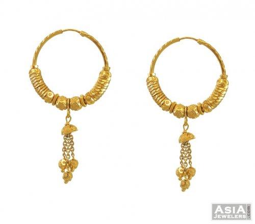 22k Designer Bali Hoops AjEr54556 22k gold bali hoops in